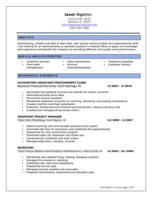 Example Of A Professional Resume Resume Samples Examples