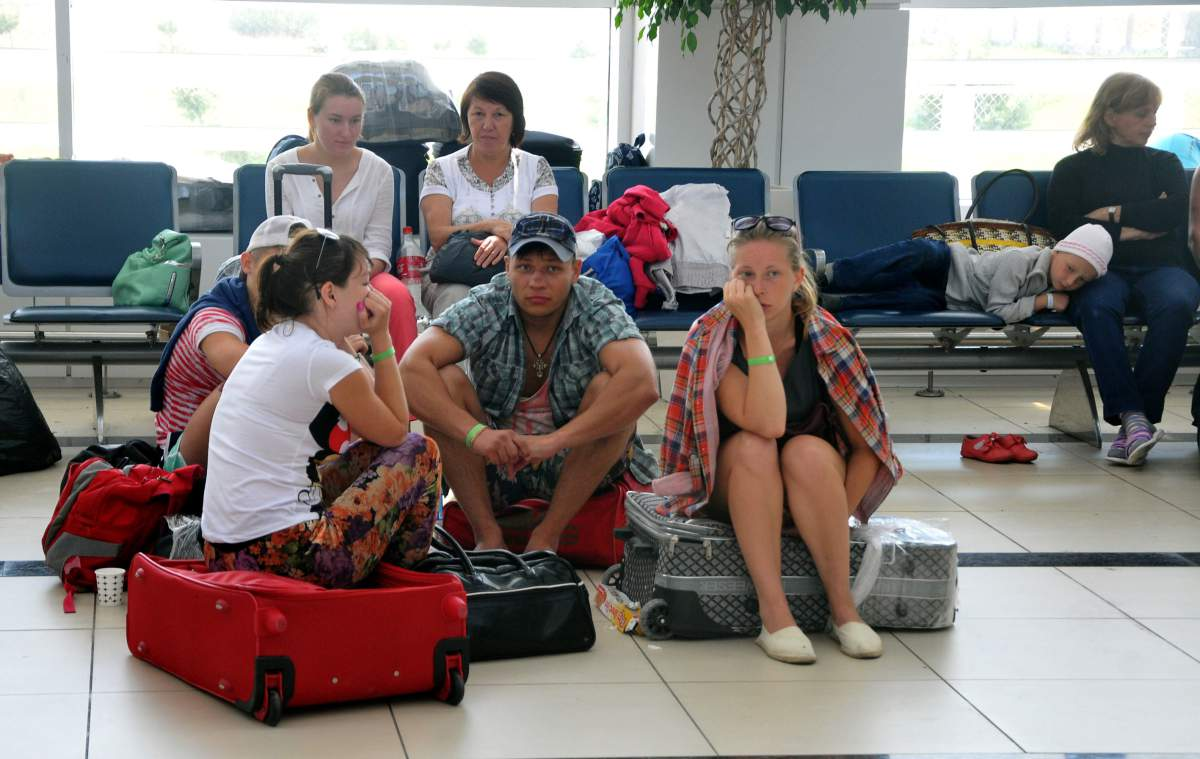 Russian tourists stranded at Turkish airport
