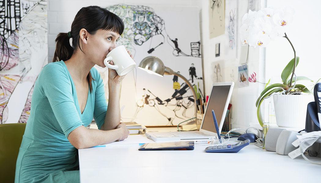 self employed lady drinking