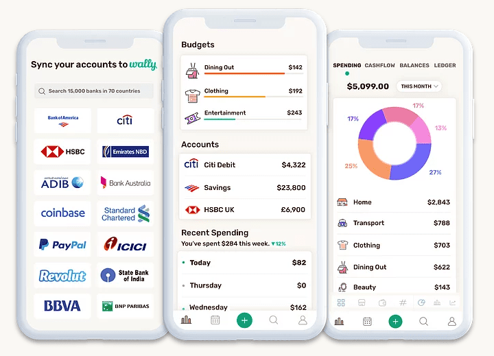 An overview of Wally's interface and features including banks, spending categories and charts