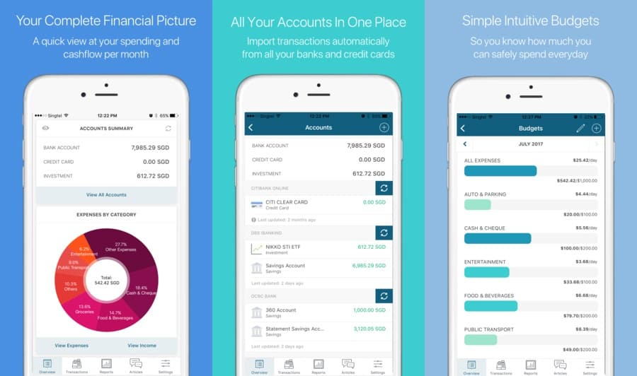 interface of Seedly app showing accounts summary, accounts & expenses